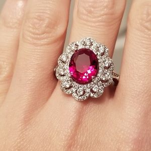 Jewelry - 🆕️Sterling Silver- Oval Cut Ruby & White Sapphire
